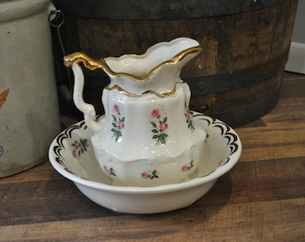 Antique Pitcher and Basin - Pink Roses and Gold Leaf