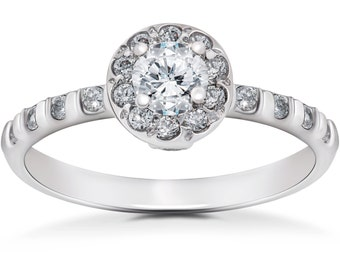 Diamond Engagement Ring 3/4CT Vintage Halo Diamond Engagement Ring 14K White Gold