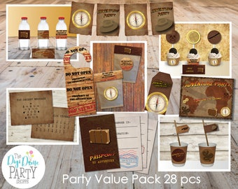 Adventurer/Treasure Hunter/Archaeologist Party Printables Value Pack, 28 pcs - Brown and Gold - Instant Download - NOT Editable - Kids Party