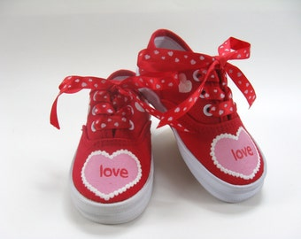 Valentine's Day Shoes, Red Canvas Sneakers With Hand Painted Pink and White Hearts For Baby and Toddler