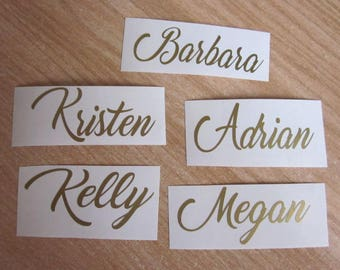 Custom name vinyl decal for champagne glass , Bridesmaid champagne flute vinyPersonalized Wine Glass Decal. wedding party