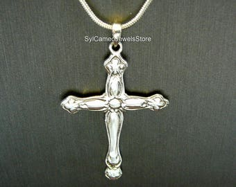 Pendant Sterling Silver Cross Snake Chain Necklace Fine Jewelry SylCameoJewelsStore