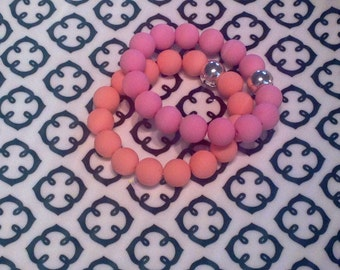 Pastel Beaded Stack Bracelet with Silver Bead