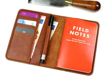 Leather Field Notes cover-Leather Notebook cover- Moleskine leather cover- Handmade notebook cover