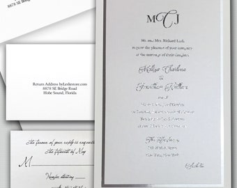 Wedding Invitation w/ rsvp, Silver foil wedding Invitations, Custom Wedding invitation, wedding invitation Thermography invitation WI-21