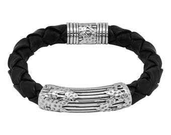 Thick Woven Leather Bracelet with Clasp