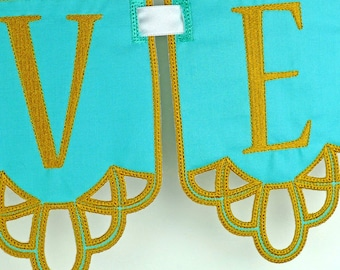 "Cutwork Banner In The Hoop Project Machine Embroidery Design Applique Patterns all done In-The-Hoop in 5  sizes 4"", 5"", 6"", 7"" and 8"""