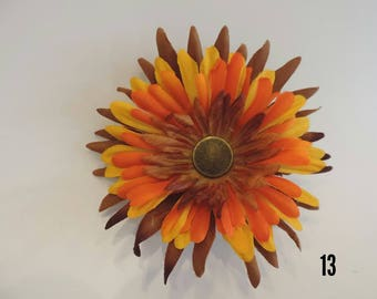 Orange, Yellow and Brown Flower Hair Clip