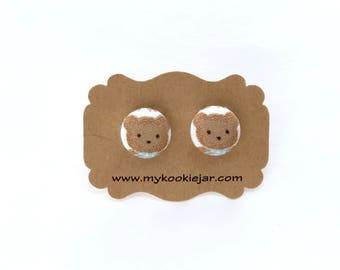 Tiny Teddy Bear Earrings, Teddy Bear Studs, Teddy Bear Fabric Button Earrings, Nickel-free, Girl's Earrings, Gift Idea, Teddy Bear Jewelry