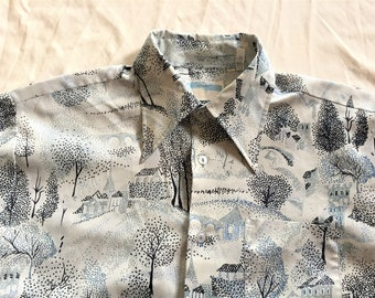 Vintage 70s Tree and Village Print Disco Shirt XL