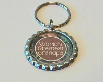 Brown Camo World's Greatest Grandpa Grandfather Metal Flattened Bottlecap Keychain Great Gift