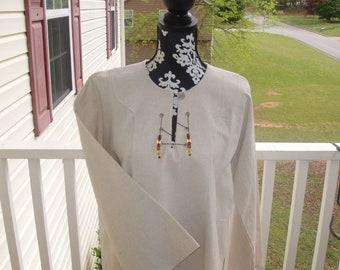 Women's, girls' shirt, galabia, top, cotton, beach cover up, handmade, wheat colored