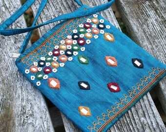 Small turquoise mirrored purse / Small shoulder bag / small zippered bag / India mirrored bag / small blue shoulder bag / small hippie purse
