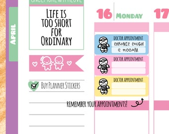 Munchkins - Cute Pastel Doctor Appointment Planner Stickers (M16)