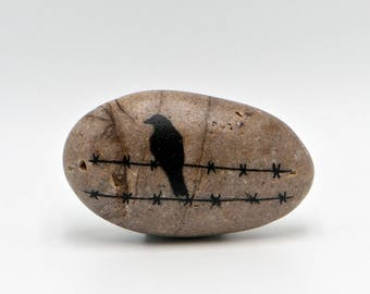 Bird on a Wire - Inked Rock Art