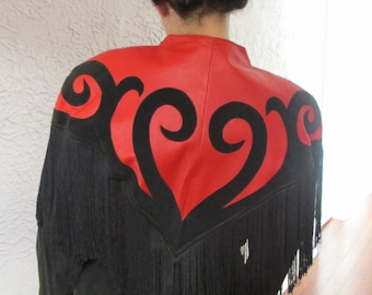 80's Vintage Black & Red Fringe Leather Goth Steampunk jacket med.