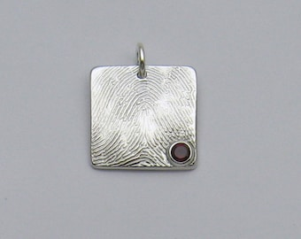 Silver Square Fingerprint with Birthstone Charm, Fingerprint Jewelry, Birthstone Jewelry, Fingerprint and Birthstone, Personalized Jewelry