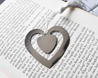 Custom Stamped Heart Book Mark, Book Lover Metal Gift- Love Heart Valentine Gift Stamped Aluminum Metal Bookmark