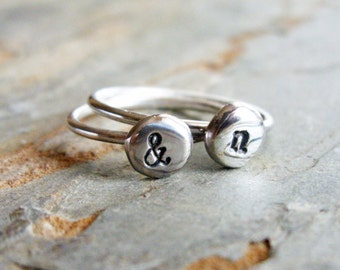 Stacking Set of Two Sterling Silver Initial Rings - Pebble Monogram Ring - Personalized Jewelry - Ampersand Ring