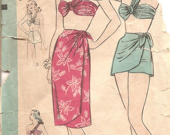 Beautiful 1940s Bathing Suit with Draped Top Pattern - Vintage Hollywood 1581 - Bust 32 Draped Top Sarong