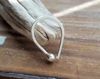 Teardrop Hoop, 18g Argentium Silver Ball Earring, Cartilage, Lobe, Body Jewelry, Artisan Jewelry