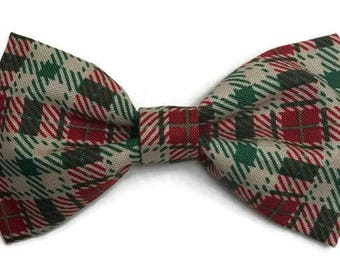 Plaid bow tie, Christmas bow tie, red and green plaid, holiday bow tie, festive bow tie, winter bow tie, winter plaid, clip on bow tie, fun