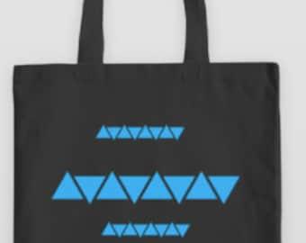 Black Canvas Tote Blue Triangle Geometric Design