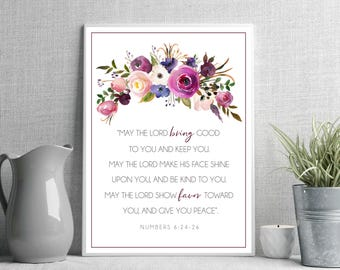 The Lord Bless You and Keep You Bible Verse Art Numbers 6:24-26 Scripture Wall Art Printable Floral Watercolor Christian Quote Printable