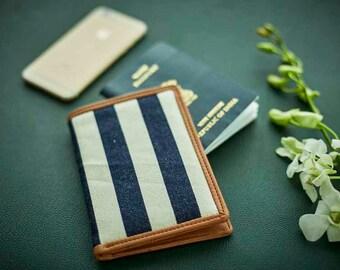 Stripes Passport Holder ,Passport Cover, Passport Wallet, Handmade, Canvas, Vegan Leather