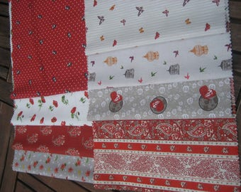 8 coupons 24 X 44 cm patchwork, sewing cotton fabric.