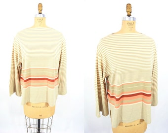 """1980s stripe sweater   green striped 3 quarter sleeve pullover top   vintage 80s sweater   W 42"""""""