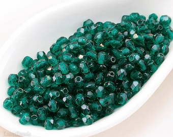Teal Fire Polished Beads, 4mm Round Glass Faceted (50) Czech Glass