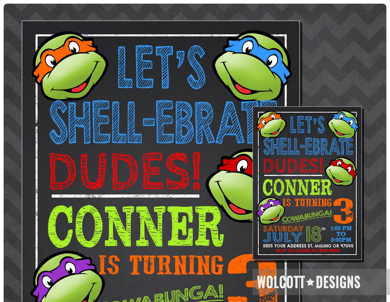 Ninja Turtles Invitation TMNT Invite Chalkboard Ninja