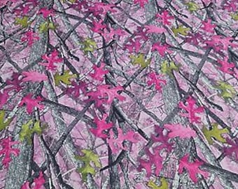 """Sassy B Pink True Timber Camouflage Auto Headliner Fabric 3/16"""" Foam Back By The Yard"""