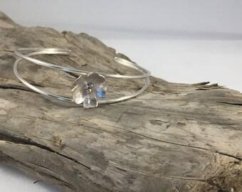 flower cuff bangle - sterling silver bracelet - silver cuff - open bangle - flower cuff - floral jewelry - flower bangle - gardener gift