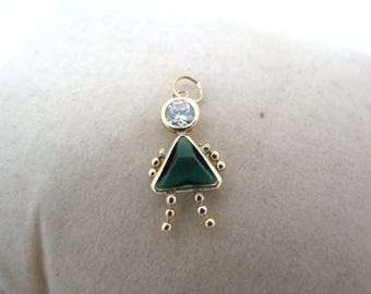 c029 Pretty Little Girl May Charm in 14k Yellow Gold