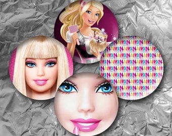 "Barbie -  15 Images in 1 Inch Circles 4"" x 6"" Digital Collage Sheet For Bottle caps, Cupcake Toppers"