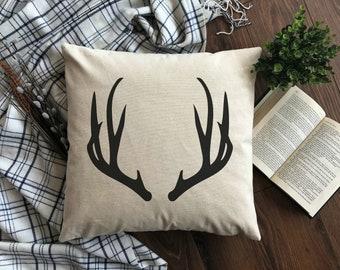 Elk Antler Burlap Pillow Cover. Elk Antler Pillow. Zipper enclosure. Rustic home decor. Rustic Chic.