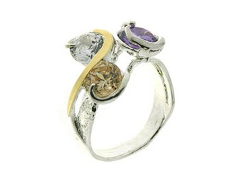 Multi color Zirconia Ring, Silver and Gold Ring, Sterling Silver Ring, Gold Ring, December Birthstone, Fashion Ring, handmade