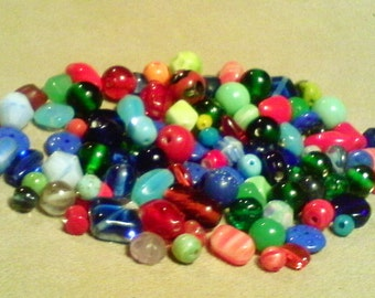 Glass bead mix;  awesome collection, old and new glass beads, mostly primary colors, 5mm-14x18mm, 100+pcs/7.00.