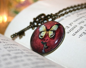 Metamorphosis I,  Art Photo Pendant, Charm Necklace, Butterfly Jewelry, 18 Inch Chain