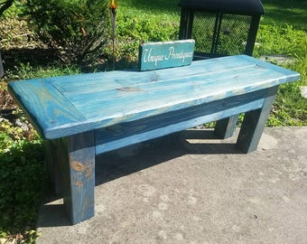 TWO Washed Denim Blue Rustic Cross-Plank FARMHOUSE Farm House Reclaimed Worn Navy Wood BENCH Lot Custom Sizes Colors By Unique Primtiques