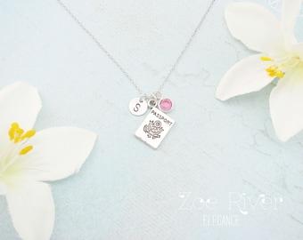 Wanderlust necklace, personalized passport necklace, Travel necklace, Travel gift, Safe travels,