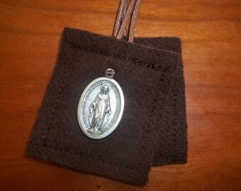 Brown Scapular of Our Lady of Mt. Carmel Handmade and DURABLE with Miraculous Medal Almost UNBREAKABLE