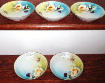 "5 NIPPON JAPAN BOWLS Set Five Floral Dessert Fruit China Porcelain 5 1/2"" Hand painted Stamped 24 Kt Gold Trim Yellow Blue White Excellent"