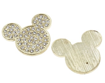 Rhinestone Crystal Bling Mouse Flatback Metal Embellishment RD362 Hair Bows Minnie Clips Accessories Invitations Frames