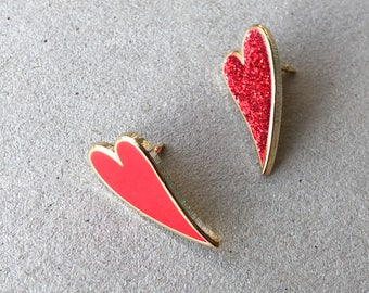 Set of 2 Heart enamel pins / cute enamel pin / Christmas stocking / lapel pin set / red and glitter enamel pin / valentines gift