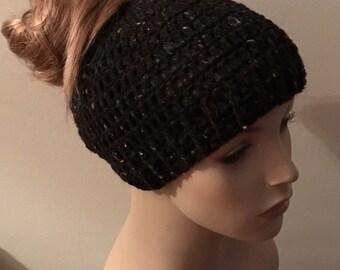 Black Fleck Messy Bun Hat