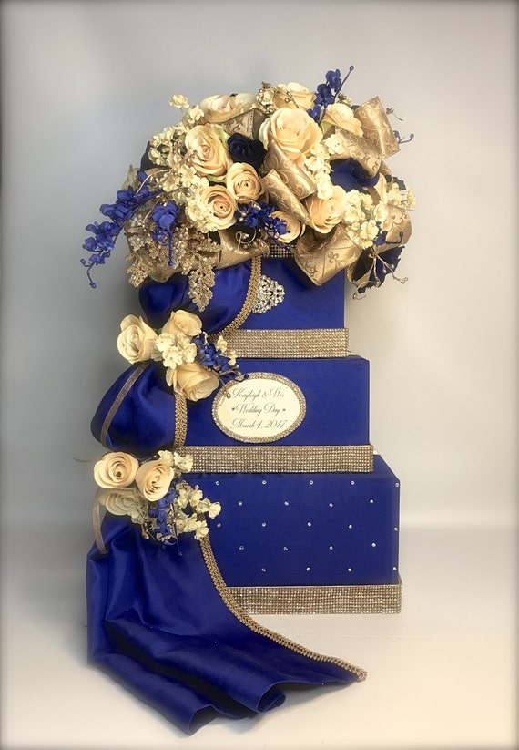 Wedding Card Box with Lock Royal Blue Champagne Gold and