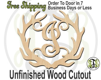Antler Monogram - 990002M1- Personalized Cutout, Initial, unfinished, wood cutout, wood craft, laser cut, wood cut out, wooden, Door Hanger